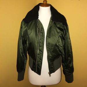 Silence and Noise olive green bomber jacket